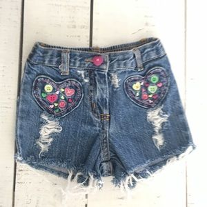 3-6mo Baby Girls Embroidered Distressed Jean Short